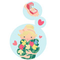 Pretty young blond girl dreaming of love clutching a bunch fresh spring flowers and an engagement ring with a big diamond Stock Photography