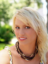 Pretty young blond teen girl outdoor portrait Royalty Free Stock Photo