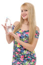 Pretty young blond woman with a bottle of water Royalty Free Stock Photo