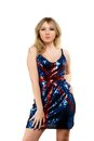 Pretty young blonde wearing a dress with picture of the flag of great britain Stock Images