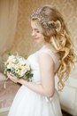 Pretty young Bride. Boudoir morning of the bride. Royalty Free Stock Photo