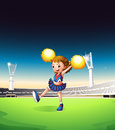 A pretty young cheerleader at the field illustration of Royalty Free Stock Photo