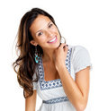 Pretty young fashion model smiling Stock Photography