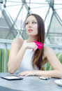 Pretty young female with credit card Royalty Free Stock Image