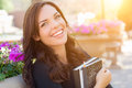 Pretty Young Female Student Carrying Books on School Royalty Free Stock Photo