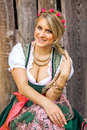 Pretty young german oktoberfest blonde woman in a dirndl dress Royalty Free Stock Photo