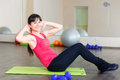 Pretty young girl fitness workout gym Stock Photos