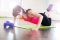 Pretty young girl fitness workout gym Royalty Free Stock Photos