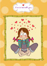 Pretty young girl in love illustration format Stock Image