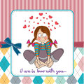 Pretty young girl in love illustration format Stock Photography