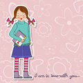 Pretty young girl in love illustration format Stock Images