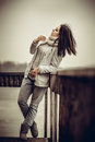 Pretty young girl outdoor on the old bridge Royalty Free Stock Photo