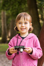 Pretty young girl taking pictures Royalty Free Stock Photos