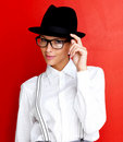 Pretty young girl wearing hat and glasses on white Royalty Free Stock Photography