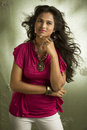 Pretty young Indian girl portrait in studio Royalty Free Stock Photo