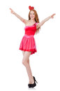 Pretty young model in mini pink dress isolated on Royalty Free Stock Photo