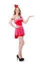 The pretty young model in mini pink dress isolated Royalty Free Stock Photo