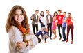 Pretty young student girl portrait with friends Royalty Free Stock Photo