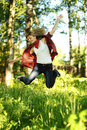 Pretty young teen woman jumping Stock Photography