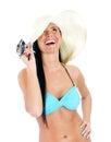 Pretty young woman in bikini and straw hat. Stock Image