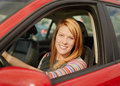 Pretty young woman in car Royalty Free Stock Images