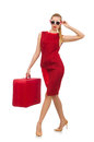Pretty young woman in red dress isolated on white Royalty Free Stock Photo