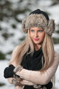 Pretty young woman in a winter fashion shoot Royalty Free Stock Image