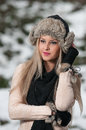 Pretty young woman in a winter fashion shoot Royalty Free Stock Photos