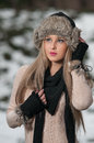 Pretty young woman in a winter fashion shot Stock Photos