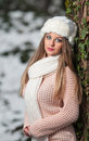 Pretty young woman in a winter fashion shot Stock Images