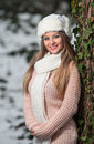 Pretty young woman in a winter fashion shot Royalty Free Stock Image