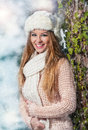 Pretty young woman in a winter fashion shot Stock Image