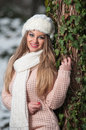 Pretty young woman in a winter fashion shot Stock Photo