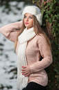 Pretty young woman in a winter fashion shot Stock Photography
