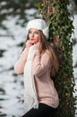 Pretty young woman in a winter fashion shot Royalty Free Stock Images