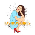 Prety fashion girl in sketch style vector illustration Royalty Free Stock Photography
