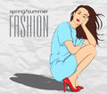 Prety fashion girl in sketch style vector illustration Royalty Free Stock Photos