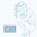 Prety fashion girl in sketch style vector illustration Stock Photo