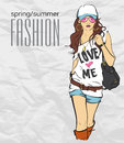 Prety fashion girl in sketch style vector illustration Royalty Free Stock Photo