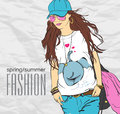 Prety fashion girl in sketch style vector illustration Stock Photography