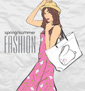 Prety fashion girl in sketch style vector illustration Stock Images