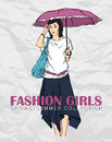 Prety fashion girl in sketch style vector illustration Stock Image