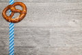 Pretzel on a grey background for oktoberfest Royalty Free Stock Photo