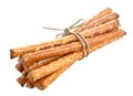 Pretzel rods a bunch stick isolate on white background Stock Images