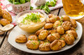 Pretzel rolls with cheese dip homemade from cheddar beer and mustard Royalty Free Stock Image