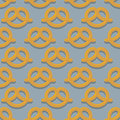 Pretzel seamless pattern beer snack background ornament of food for german oktoberfest Royalty Free Stock Photography