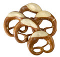 Pretzel some german baked bread products named in white back Royalty Free Stock Photo