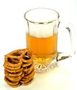 Pretzels and beer a stack of a glass of Stock Image