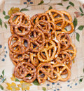 Pretzels in a bowl close up Stock Photography