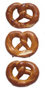 Pretzels close up of freshly baked isolated Royalty Free Stock Images